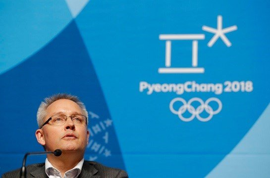 Matthieu Reeb, CAS Secretary General, speaks during a press conference about Russian athletes.