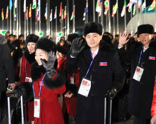 North Korean participants in Olympics arrive at sports village in Gangneung, South Korea on Feb. 1, 2018. 32 athletes and staffs arrive by a charter plane.