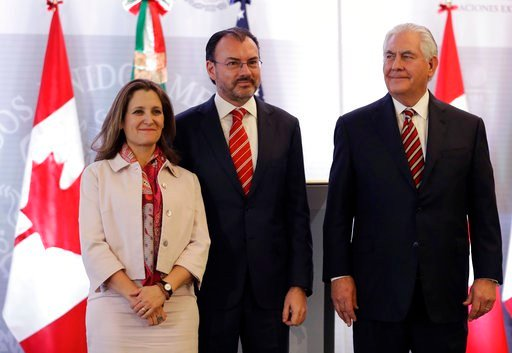 Tillerson's Mexico stop kicks off a weeklong trip to Latin America which will take him to Argentina, Peru, and Colombia, with a final stop in Jamaica. (AP Photo/Rebecca Blackwell)