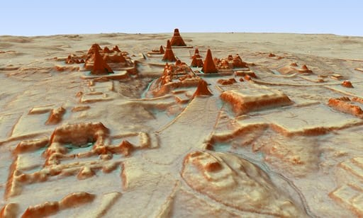 This digital 3D image provided by Guatemala's Mayan Heritage and Nature Foundation, PACUNAM, shows a depiction of the Mayan archaeological site at Tikal in Guatemala created using LiDAR aerial mapping technology.
