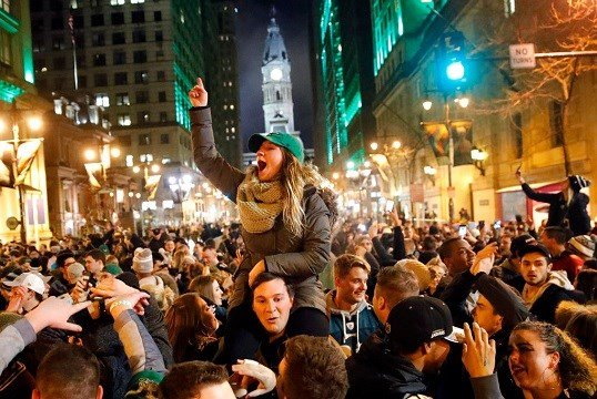 Philadelphia Eagles fans celebrate the team's victory in the NFL Super Bowl 52 between the Philadelphia Eagles and the New England Patriots.