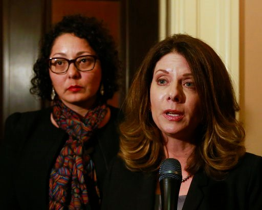 Assemblywoman Melissa Melendez, R-Lake Elsinore, right, and Assemblywoman Cristina Garcia, left, meet with reporters after the Assembly approved their bill to provide whistleblower protection for legislative staff members, Monday, Feb. 5, 2018, in Sacrame
