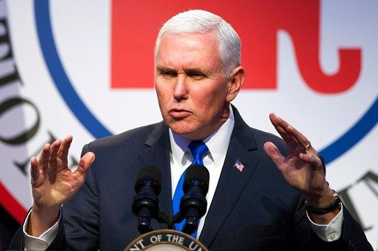 Vice President Mike Pence addresses the Republican National Committee (RNC) Winter Meeting in Washington.