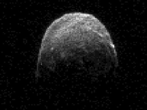 This image made from radar data obtained on Nov. 7, 2011 at 11:45 a.m. PST (2:45 p.m. EST/1945 UTC) and provided by NASA shows asteroid 2005 YU55 when the space rock was at 3.6 lunar distances, which is about 860,000 miles from Earth.