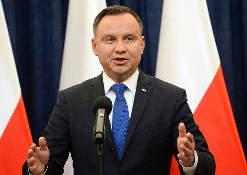 Polish President Andrzej Duda announces his decision to sign a legislation penalizing certain statements about the Holocaust, in Warsaw, Poland.