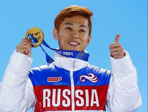 Men's 1,000-meter short track speedskating gold medalist Viktor Ahn, of Russia.