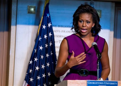 First lady Michelle Obama speaks to a group of high school students at Georgetown University in Washington, Tuesday, Nov. 8, 2011.