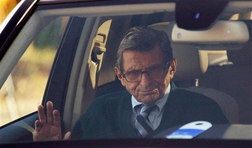 Penn State football coach Joe Paterno arrives home Wednesday, Nov. 9, 2011, in State College, Pa. (AP Photo/Matt Rourke)