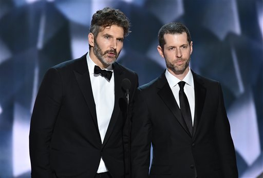 "David Benioff, left, and D.B Weiss accept the award for outstanding writing for a drama series for ""Game of Thrones"" at the 68th Primetime Emmy Awards on Sunday, Sept. 18, 2016, at the Microsoft Theater in Los Angeles."