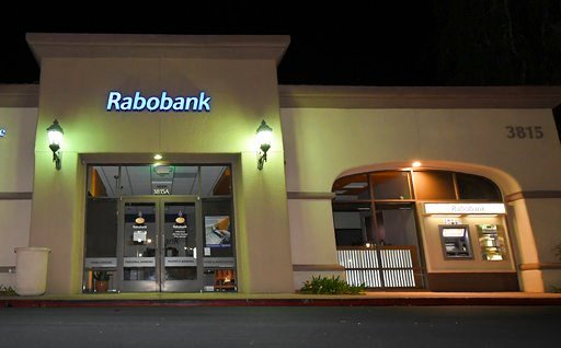 A Rabobank bank location is seen, Tuesday, Feb. 6, 2018, in Thousand Oaks, Calif. Dutch lender Rabobank's California subsidiary is scheduled to enter a plea a long-running investigation that led to allegations the bank was used to launder millions of doll