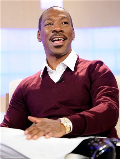 "In this image released by NBC, actor Eddie Murphy appears on the ""Today"" show to promote his new movie ""Tower Heist"" on Wednesday, Oct. 26, 2011 in New York. (AP Photo/NBC, Peter Kramer)."