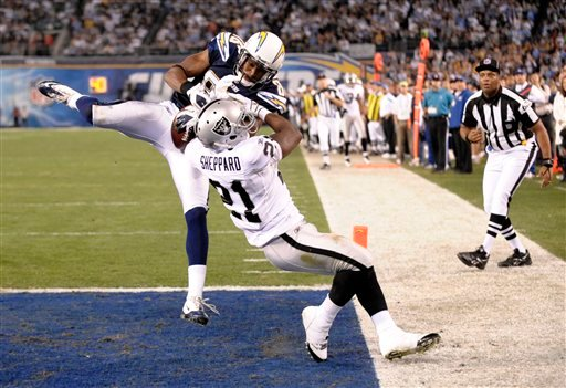 San Diego Chargers wide receiver Vincent Brown (86) appears to catch a third-quarter pass in the end zone against Oakland Raiders' Lito Sheppard (21) in an NFL football game Thursday, Nov. 10, 2011, in San Diego. (AP Photo/Denis Poroy)