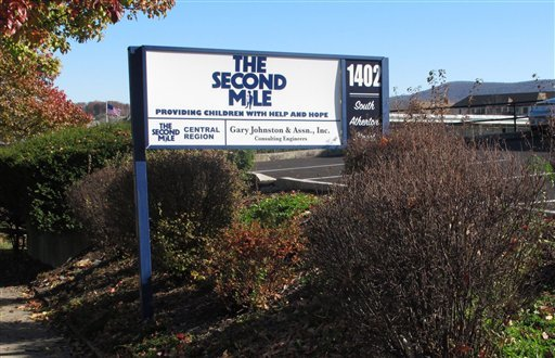 A sign for The Second Mile charity is seen outside the organization's headquarters in State College, Pa., on Saturday Nov. 2, 2011. (AP)