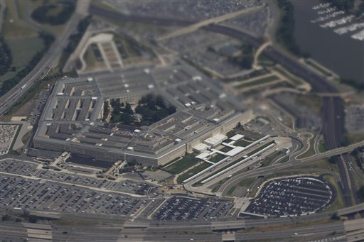 The Pentagon is seen from Air Force One as President Barack Obama travels to Toledo, Ohio, Friday, June 3, 2011. (AP Photo/Charles Dharapak)