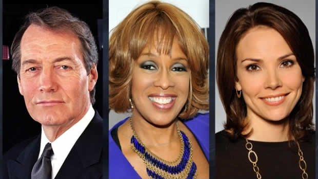 From left, Charlie Rose, Gayle King and Erica Hill, hosts of the brand new CBS News morning broadcast. (CBS News)