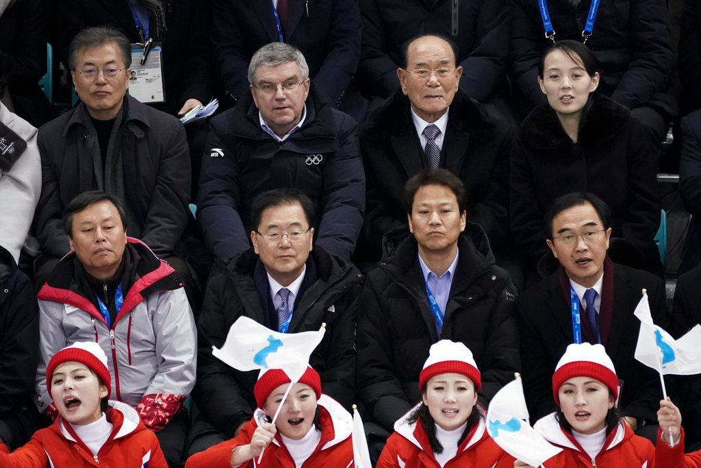 Kim Yo Jong, sister of North Korean leader Kim Jong Un, top right, and South Korean President Moon Jae-in, top left, watch a women's hockey game between Switzerland and the combined Koreas at the 2018 Winter Olympics (AP Photo/Felipe Dana)