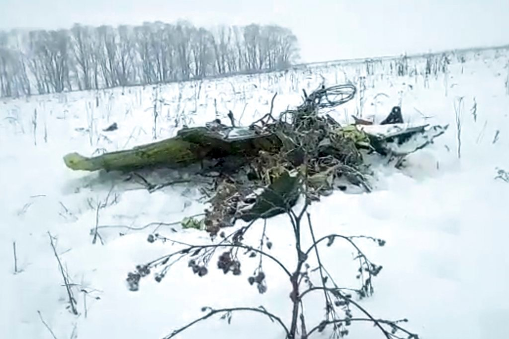The wreckage of a AN-148 plane is seen in Stepanovskoye village, about 25 miles from the Domodedovo airport, Russia, Sunday, Feb. 11, 2018.  (Life.ru via AP)