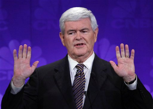 FILE - In this Nov. 9, 2011 file photo, Republican presidential candidate former House Speaker Newt Gingrich speaks during a Republican Presidential Debate at Oakland University in Auburn Hills, Mich.
