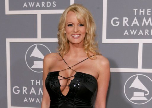 FILE - In this Feb. 11, 2007, file photo, Stormy Daniels arrives for the 49th Annual Grammy Awards in Los Angeles. (AP Photo/Matt Sayles, File).