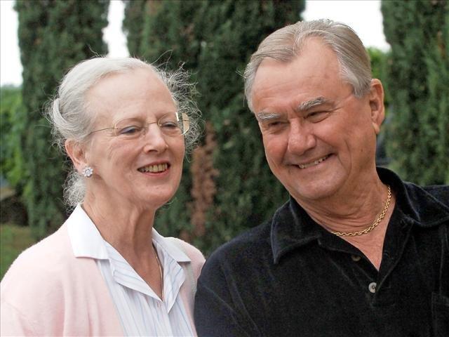 Queen Margrethe II of Denmark, with her husband Henrik, Prince Consort of Denmark, headshots, photo