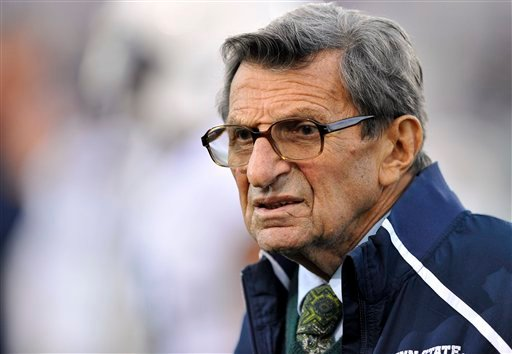 In this Oct. 22, 2011 file photo, Penn State coach Joe Paterno stands on the field before his team's NCAA college football game against Northwestern, in Evanston, Ill. (AP Photo/Jim Prisching, File)