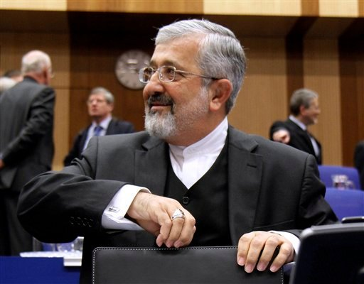 Iran's Ambassador to the International Atomic Energy Agency, IAEA, Ali Asghar Soltanieh waits for the start of the IAEA board of governors meeting at the International Center, in Vienna, Austria, on Friday, Nov. 18, 2011.