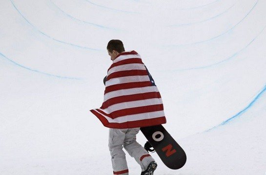 Shaun White, of the United States, celebrates his gold medal after the men's halfpipe finals at Phoenix Snow Park at the 2018 Winter Olympics in Pyeongchang, South Korea.