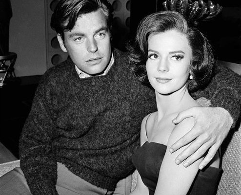 """In a Nov. 25, 1959 file photo, Natalie Wood and her husband Robert Wagner are made up for their roles in """"All The Fine Young Cannibals,"""" in Los Angeles. (AP)"""