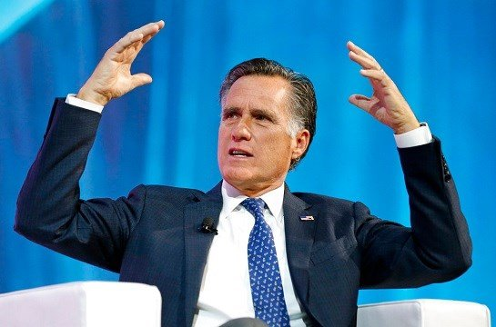 Former Republican presidential candidate Mitt Romney speaks about the tech sector during an industry conference, in Salt Lake City.