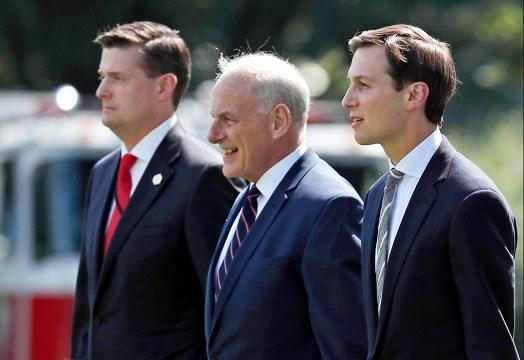 From left, White House Staff Secretary Rob Porter, White House Chief of Staff John Kelly, and White House senior adviser Jared Kushner.