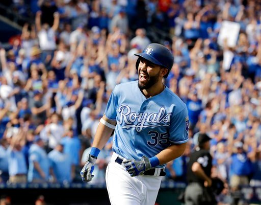 Kansas City Royals' Eric Hosmer celebrates after hitting a solo home run during the first inning of a baseball game against the Arizona Diamondbacks Sunday, Oct. 1, 2017, in Kansas City, Mo. (AP Photo/Charlie Riedel)