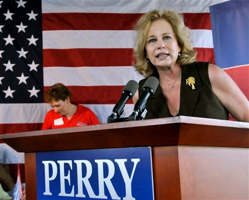 In this Aug. 20, 2011 file photo, Anita Perry, wife of Republican presidential candidate, Texas Gov. Rick Perry, speaks in Austin, Texas. (AP Photo/Michael Thomas, File)