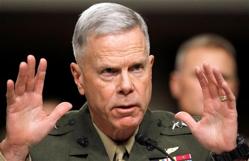 In this Dec. 3, 2010, file photo Marine Crops Commandant Gen. James Amos testifies on Capitol Hill in Washington about the military policy of Don't Ask Don't Tell during a Senate Armed Service Committee. (AP)