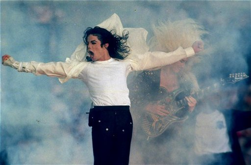 FILE - In this Jan. 31, 1993 file picture, Michael Jackson performs during the halftime show at the Super Bowl XXVII in Pasadena, Calif.