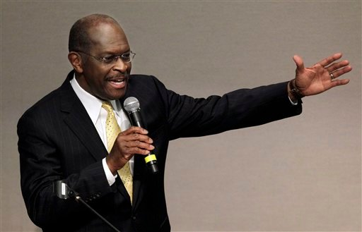Republican presidential candidate Herman Cain speaks at Middle Tennessee State University Thursday, Dec. 1, 2011, in Murfreesboro, Tenn. (AP Photo/Mark Humphrey)