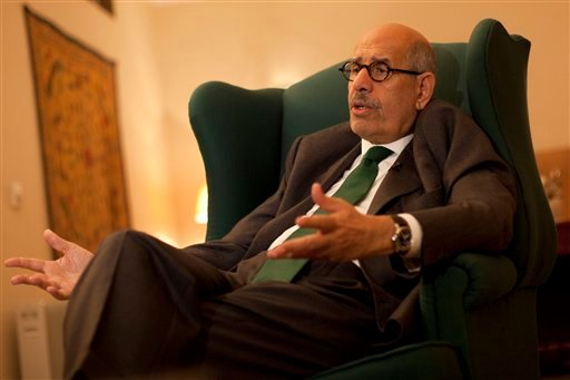 Pro-reform leader and Nobel peace laureate Mohamed ElBaradei speaks during an interview with The Associated Press in his home in Giza, on the outskirts of Cairo, Egypt, Sunday, Dec. 4, 2011. (AP)