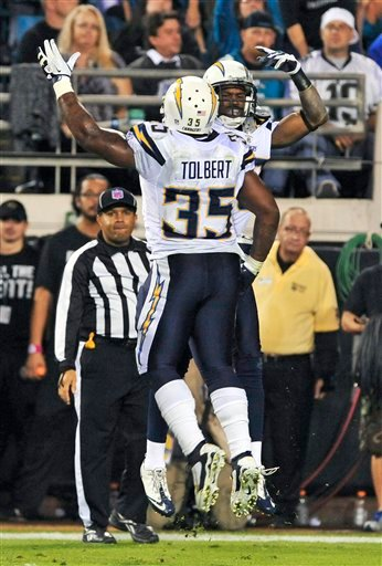 San Diego Chargers running back Mike Tolbert (35) celebrates with wide receiver Vincent Brown after Brown caught a 22-yard pass for a touchdown against the Jacksonville Jaguars during the first half of Monday night's game. (AP Photo/Stephen Morton)