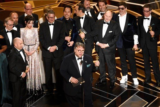 "Guillermo del Toro and the cast and crew of ""The Shape of Water"" accept the award for best picture at the Oscars on Sunday, March 4, 2018."