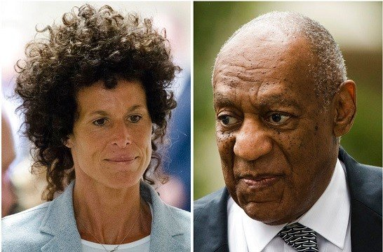 Andrea Constand, left, walking to the courtroom during Bill Cosby's sexual assault trial June 6, 2017, at the Montgomery County Courthouse in Norristown, Pa.; and Bill Cosby, right, arriving for his sexual assault trial June 16, 2017.