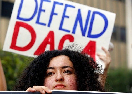 Loyola Marymount University student and a DACA recipient Maria Carolina Gomez joins a rally in support of the Deferred Action for Childhood Arrivals, or DACA program.