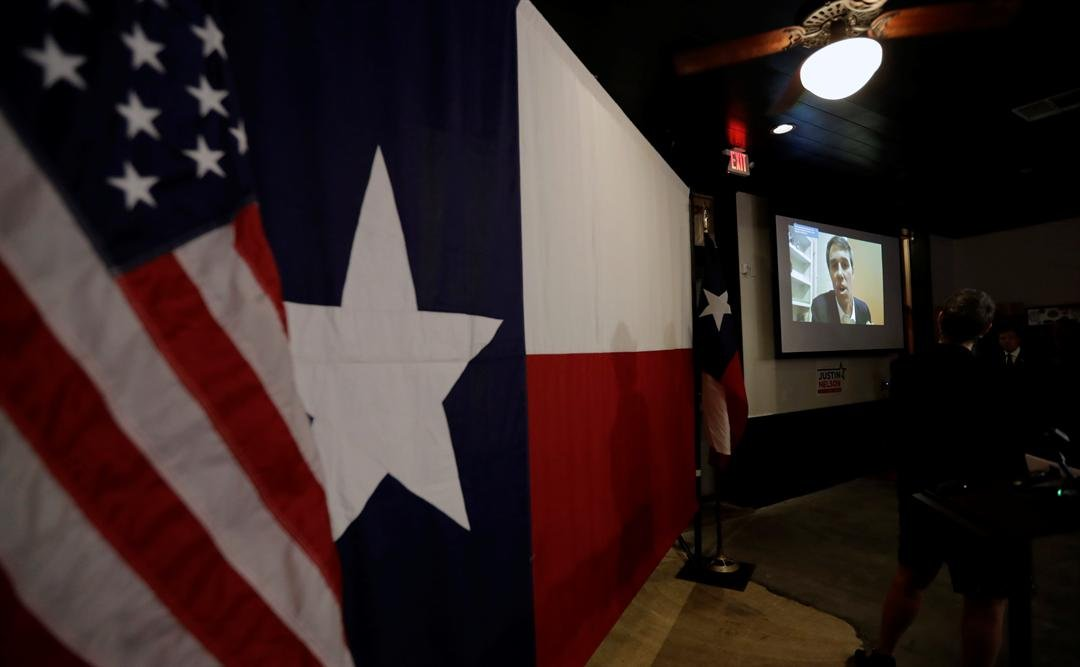 U.S. Senate hopeful Beto O'Rourke addresses a Democratic watch party via video following the Texas primary election, Tuesday, March 6, 2018, in Austin, Texas. (AP Photo/Eric Gay)