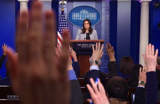 White House press secretary Sarah Huckabee Sanders listens to a reporter's question during the daily briefing at the White House in Washington, Wednesday, March 7, 2018. (AP Photo/Susan Walsh)