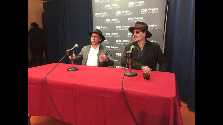 Johnny Depp joined renowned theoretical physicist Lawrence Krauss, founder of Arizona State University's Origins Project, for a talk Saturday, March 12, 2016.