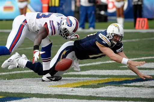 Buffalo Bills defensive back Bryan Scott, left, reaches for a loose ball in the end zone as San Diego Chargers quarterback Philip Rivers, right, falls in the second half.