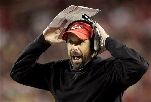 Kansas City Chiefs head coach Todd Haley yells to his team during the first half of an NFL football game against the Pittsburgh Steelers in Kansas City, Mo., Sunday, Nov. 27, 2011.