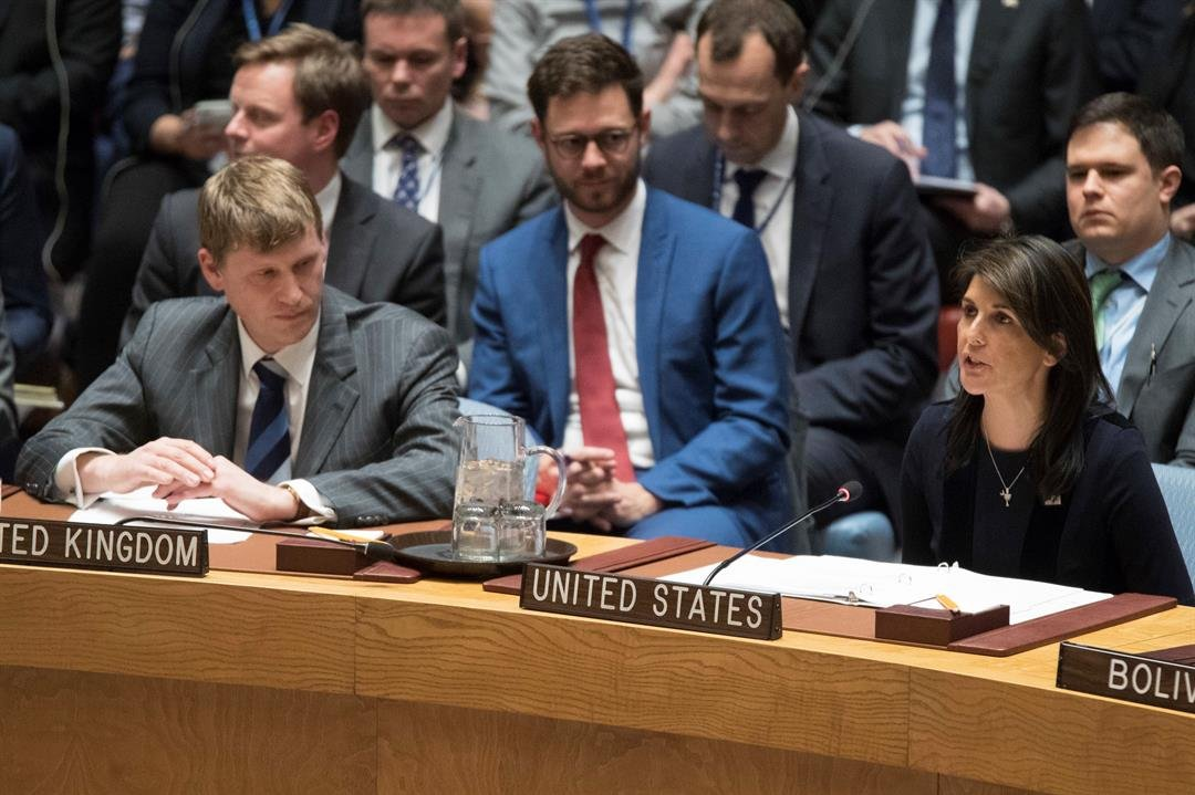 British Deputy Ambassador to the United Nations Jonathan Allen, right, listens as American Ambassador to the United Nations Nikki Haley speaks during a Security Council meeting on the situation between Britain and Russia. (AP Photo/Mary Altaffer)