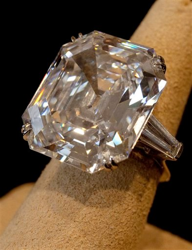 """This , Sept. 1, 2011, file photo shows""""The Elizabeth Taylor Diamond,"""" a 33.19 carat a gift to the actress from Richard Burton at Christie's, in New York."""