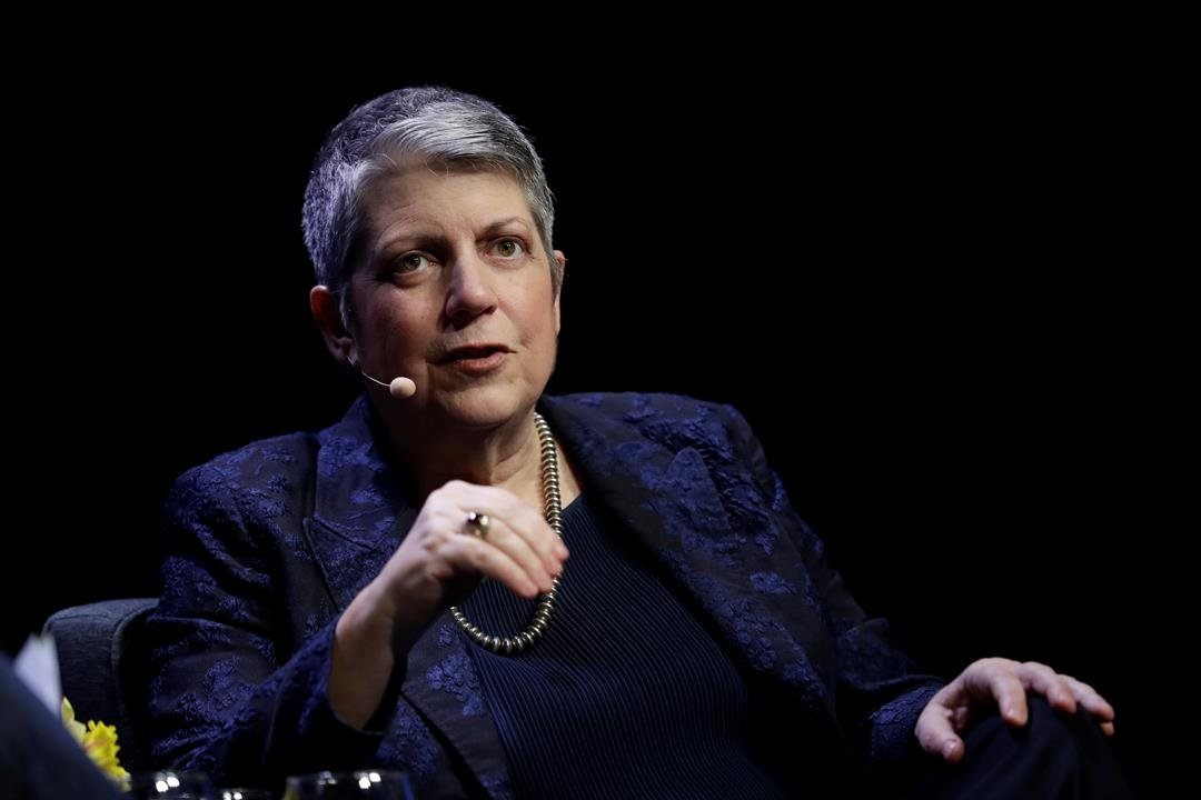 University of California President Janet Napolitano speaks during a meeting of The Commonwealth Club Wednesday, March 7, 2018, in San Francisco.(AP Photo/Marcio Jose Sanchez)
