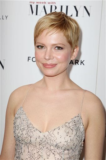 """FILE - In this Nov. 13, 2011 file photo, actress Michelle Williams, who portrays Marilyn Monroe, attends the New York Premiere of The Weinstein Company's """"My Week With Marilyn,"""" at the Paris Theater in New York."""