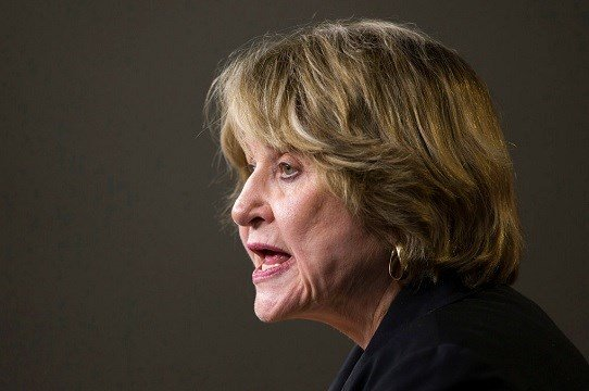 Rep. Louise Slaughter, D-N.Y., speaks during a news conference on Capitol Hill in Washington.